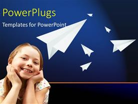PowerPoint template displaying a kid with bluish background and a number of paper airplanes