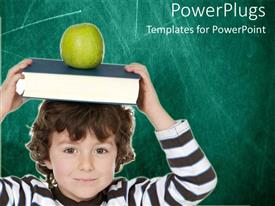 PowerPoint template displaying a kid with a book and an apple on his head
