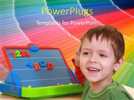 PowerPoint template displaying a kid with a colorful background and place for text