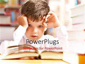 PowerPlugs: PowerPoint template with a kid confused due to burden of studies