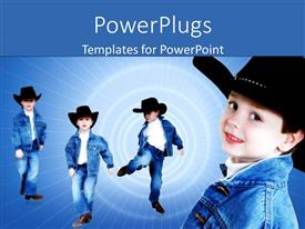PowerPlugs: PowerPoint template with a kid in different styles with spiral lights in the background