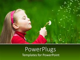 PowerPlugs: PowerPoint template with a kid enjoying with greenery in the background