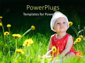 PowerPlugs: PowerPoint template with a kid in the field with a lot of flowers