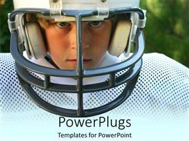 PowerPlugs: PowerPoint template with a kid in football gear with greenery in the background