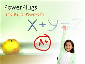 PowerPlugs: PowerPoint template with a kid with A+ grade and an apple