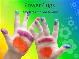 PowerPlugs: PowerPoint template with kid hands stained with different colored paint