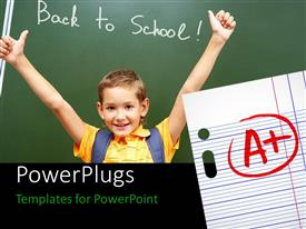 PowerPlugs: PowerPoint template with a kid happy on good result with green board in the background