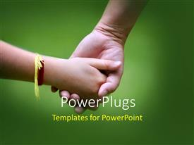 PowerPlugs: PowerPoint template with a kid holding the hand of her brother with greenish background