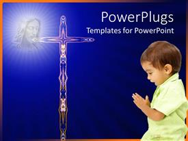 PowerPlugs: PowerPoint template with a kid with a holy cross and bluish background