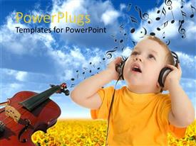 PowerPlugs: PowerPoint template with a kid listening to music and enjoying it