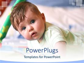 PowerPoint template displaying a kid looking towards you with blurred background