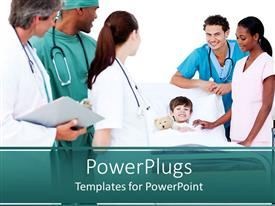 PowerPoint template displaying kid lying down on a hospital bed with nurses surrounding him