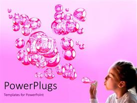 PowerPoint template displaying a kid making bubbles with pinkish background