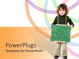 PowerPoint template displaying a kid with a maths equation with a number of lines in background