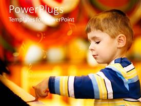 PowerPoint template displaying a kid with music signs in the background