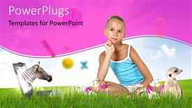 PowerPoint template displaying a kid with a number of animals and pink background