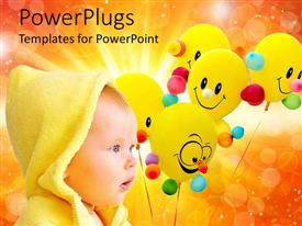 PowerPlugs: PowerPoint template with a kid with a number of balloons in the background