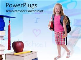 PowerPlugs: PowerPoint template with a kid with a number of books and apple on the top