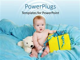 PowerPlugs: PowerPoint template with a kid with a number of gifts on a bed