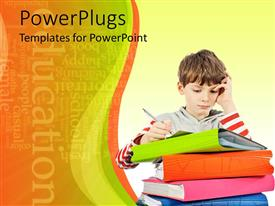 PowerPlugs: PowerPoint template with a kid with a number of notebooks