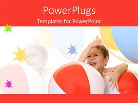 PowerPoint template displaying a kid playing with the ball and stars in the background