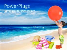 PowerPoint template displaying a kid playing with a balloon on a beach
