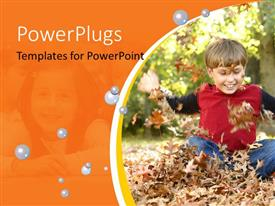 PowerPlugs: PowerPoint template with a kid playing with the leaves