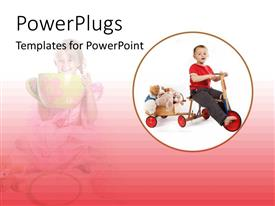 PowerPlugs: PowerPoint template with a kid playing with his toys with a kid in background