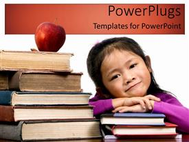 PowerPlugs: PowerPoint template with a kid putting her hands on a number of books
