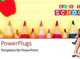 PowerPlugs: PowerPoint template with a young student with a book sitting with some text behind her