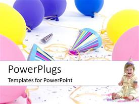PowerPoint template displaying a kid is smiling and a number of balloons and celebration material