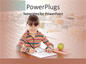 PowerPoint template displaying a kid smiling and writing with classroom in the background