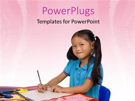PowerPoint template displaying a kid studying and smiling with pinkish background