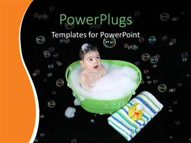 PowerPlugs: PowerPoint template with a kid taking a bath with bubbles in background
