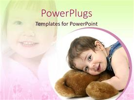PowerPlugs: PowerPoint template with a kid with teddy bear and a reflection in the background