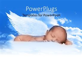 PowerPlugs: PowerPoint template with a kid with wings and clouds in the background