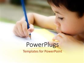 PowerPlugs: PowerPoint template with kid working in the classroom with blurr background