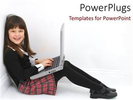 PowerPlugs: PowerPoint template with a kid working on a laptop