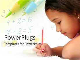 PowerPoint template displaying a kid writing something in the diary