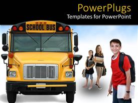 PowerPlugs: PowerPoint template with kids with backpacks and notebooks about to get on school bus