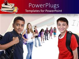 PowerPlugs: PowerPoint template with kids with backpacks ready for new school year