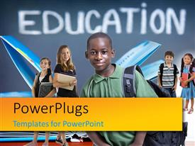 PowerPlugs: PowerPoint template with kids carrying school back packs dressed for school