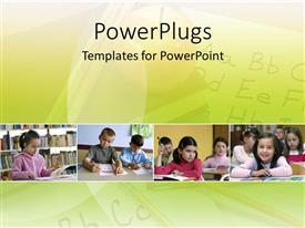 PowerPlugs: PowerPoint template with kids in elementary school learning the alphabet on yellow background