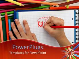 PowerPlugs: PowerPoint template with a kids hand holding a red color pencil and drawing