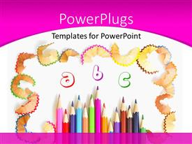 PowerPlugs: PowerPoint template with kids learning using colored pencils and alphabets with white color
