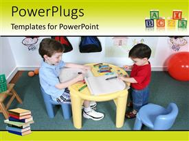 PowerPlugs: PowerPoint template with kids playing with colors with balloon and bags in the background