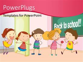 PowerPoint template displaying kids playing and having fun together in classroom with back to school keywords in the background