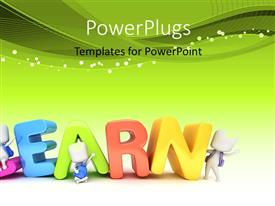 PowerPlugs: PowerPoint template with kids Posing with the Word Learn