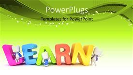 PowerPoint template displaying kids Posing with the Word Learn