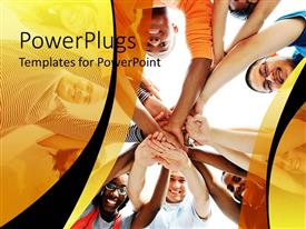 PowerPoint template displaying kids putting their hands in together for cheer